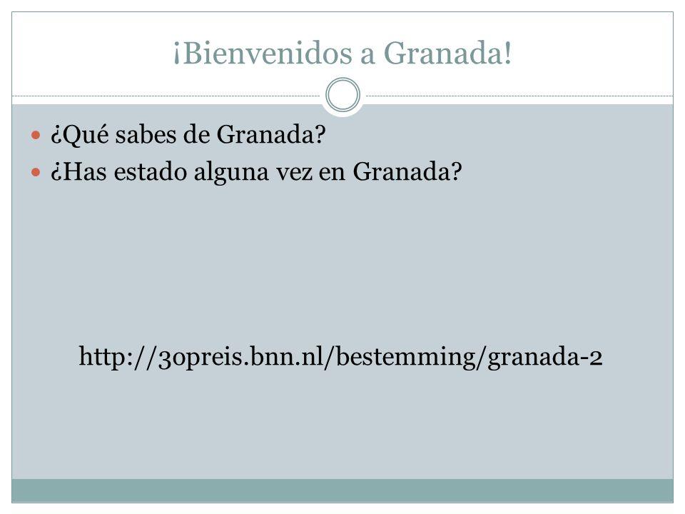 ¡Bienvenidos a Granada! ¿Qué sabes de Granada? ¿Has estado alguna vez en Granada? http://3opreis.bnn.nl/bestemming/granada-2