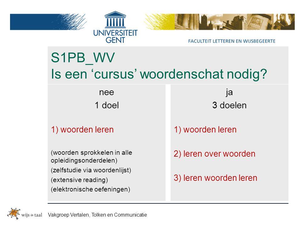 Vakgroep Vertalen, Tolken en Communicatie S1PB_WV Is een 'cursus' woordenschat nodig.