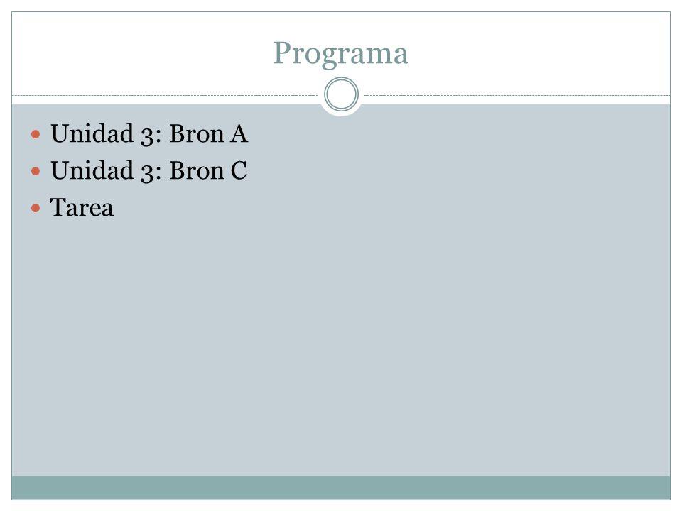 Programa Unidad 3: Bron A Unidad 3: Bron C Tarea