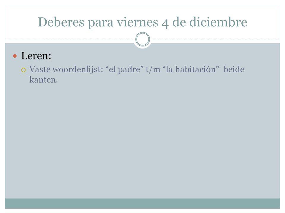Deberes para viernes 4 de diciembre Leren:  Vaste woordenlijst: el padre t/m la habitación beide kanten.