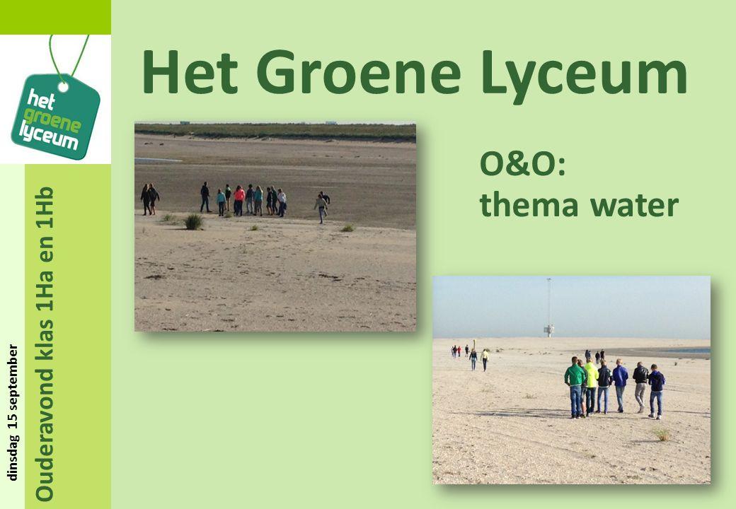 Ouderavond klas 1Ha en 1Hb dinsdag 15 september Het Groene Lyceum O&O: thema water