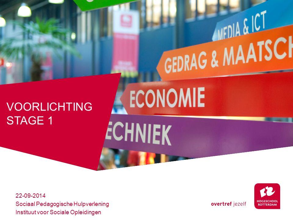 VOORLICHTING STAGE 1 22-09-2014 Sociaal Pedagogische Hulpverlening Instituut voor Sociale Opleidingen