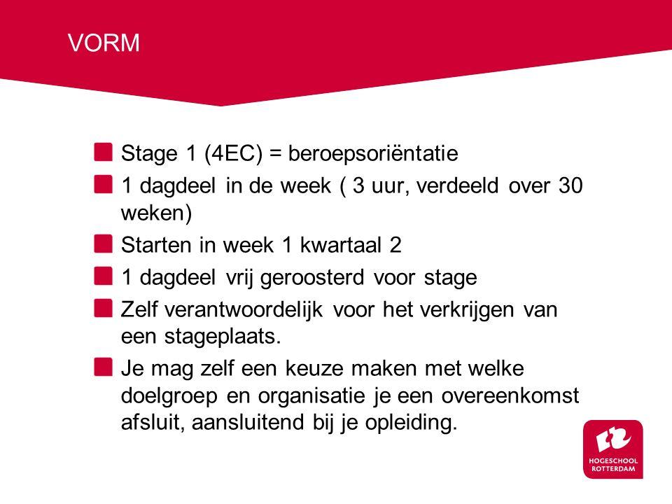 VORM Stage 1 (4EC) = beroepsoriëntatie 1 dagdeel in de week ( 3 uur, verdeeld over 30 weken) Starten in week 1 kwartaal 2 1 dagdeel vrij geroosterd voor stage Zelf verantwoordelijk voor het verkrijgen van een stageplaats.