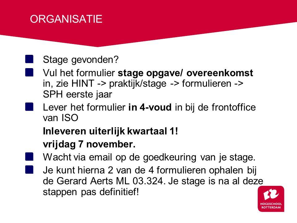 ORGANISATIE Stage gevonden? Vul het formulier stage opgave/ overeenkomst in, zie HINT -> praktijk/stage -> formulieren -> SPH eerste jaar Lever het fo