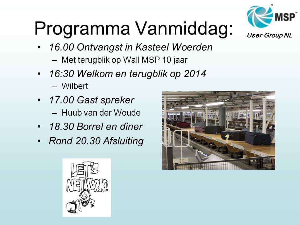 User-Group NL Programma Vanmiddag: 16.00 Ontvangst in Kasteel Woerden –Met terugblik op Wall MSP 10 jaar 16:30 Welkom en terugblik op 2014 –Wilbert 17
