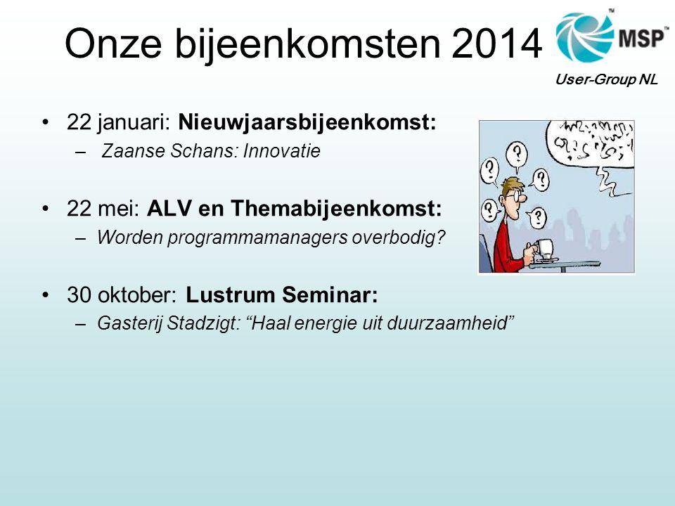 User-Group NL Onze bijeenkomsten 2014 22 januari: Nieuwjaarsbijeenkomst: – Zaanse Schans: Innovatie 22 mei: ALV en Themabijeenkomst: –Worden programma