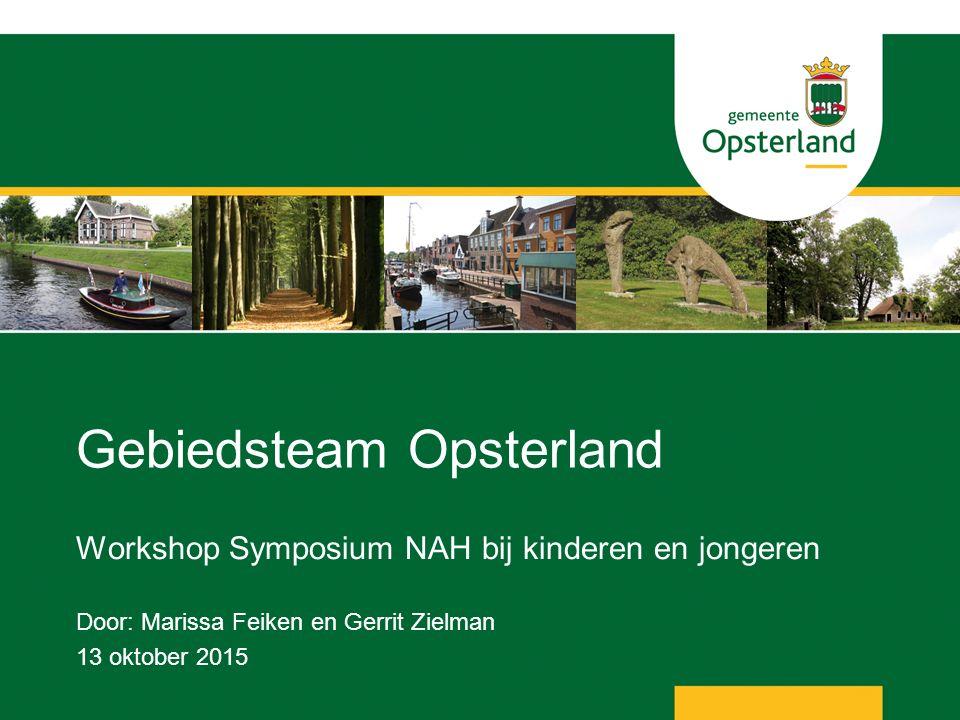Gebiedsteam Opsterland Workshop Symposium NAH bij kinderen en jongeren Door: Marissa Feiken en Gerrit Zielman 13 oktober 2015