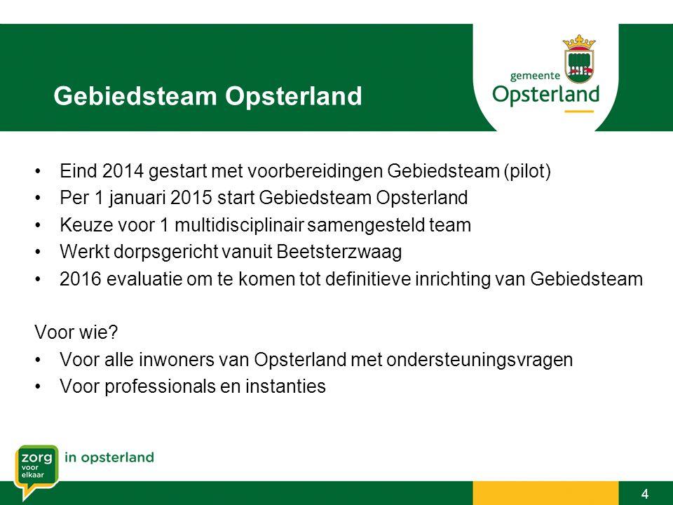Gebiedsteam Opsterland 4 Eind 2014 gestart met voorbereidingen Gebiedsteam (pilot) Per 1 januari 2015 start Gebiedsteam Opsterland Keuze voor 1 multid