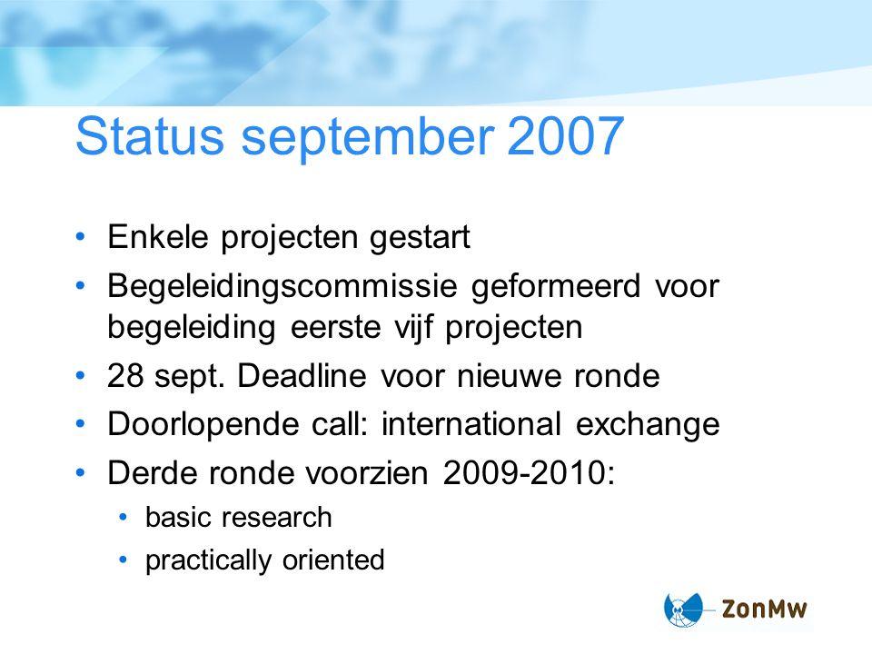 Status september 2007 Enkele projecten gestart Begeleidingscommissie geformeerd voor begeleiding eerste vijf projecten 28 sept.