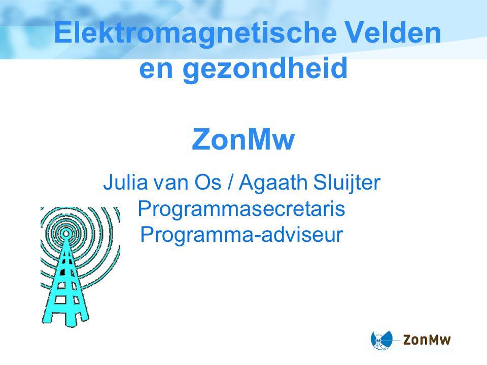Elektromagnetische Velden en gezondheid ZonMw Julia van Os / Agaath Sluijter Programmasecretaris Programma-adviseur
