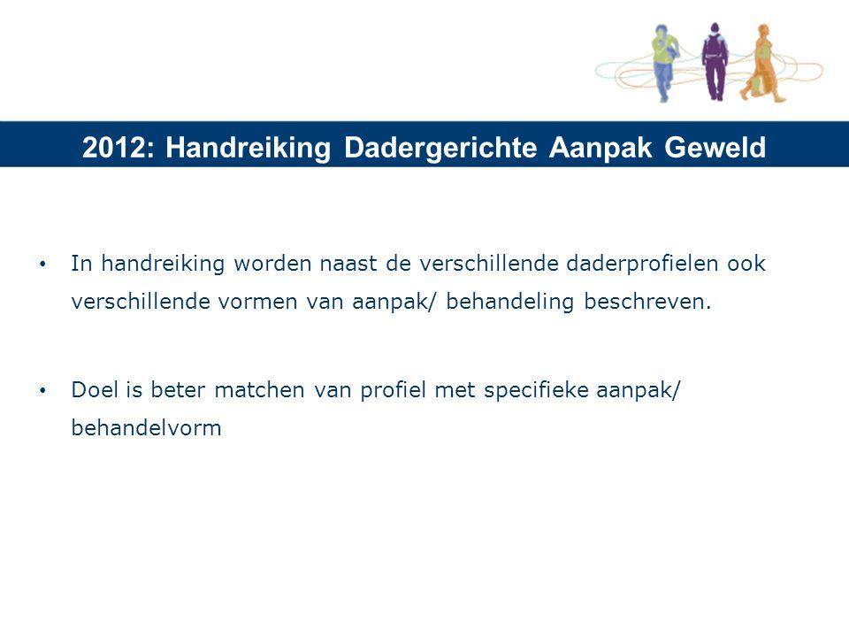 2012: Handreiking Dadergerichte Aanpak Geweld In handreiking worden naast de verschillende daderprofielen ook verschillende vormen van aanpak/ behandeling beschreven.