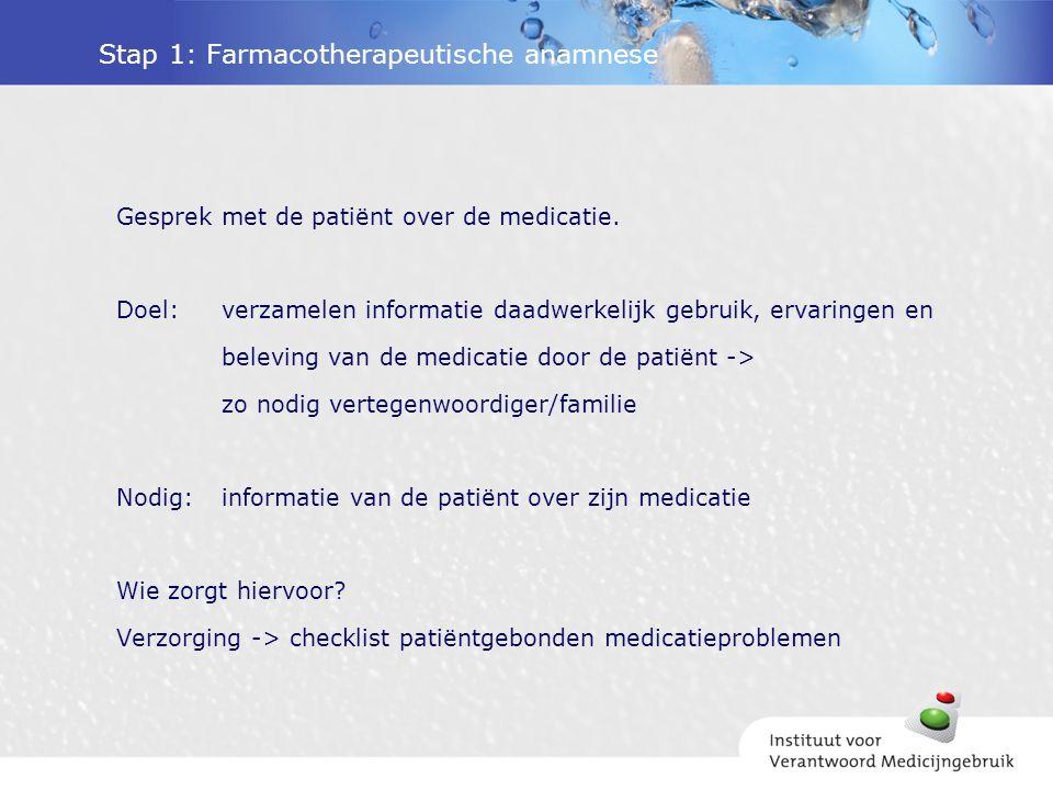 Stap 1: Farmacotherapeutische anamnese Gesprek met de patiënt over de medicatie.