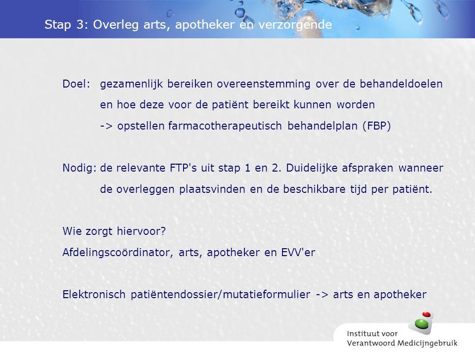 Stap 3: Overleg arts, apotheker en verzorgende Doel:gezamenlijk bereiken overeenstemming over de behandeldoelen en hoe deze voor de patiënt bereikt kunnen worden -> opstellen farmacotherapeutisch behandelplan (FBP) Nodig:de relevante FTP s uit stap 1 en 2.