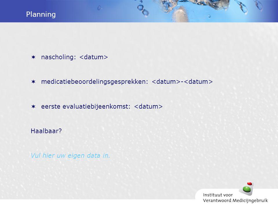Planning  nascholing:  medicatiebeoordelingsgesprekken: -  eerste evaluatiebijeenkomst: Haalbaar.