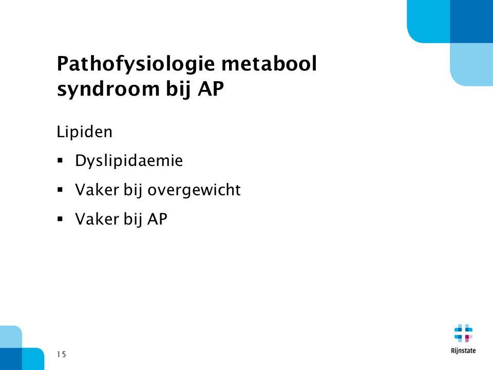 Pathofysiologie metabool syndroom bij AP Lipiden  Dyslipidaemie  Vaker bij overgewicht  Vaker bij AP 15