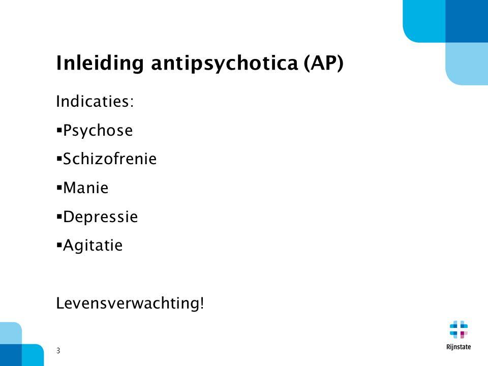 Inleiding antipsychotica (AP) Indicaties:  Psychose  Schizofrenie  Manie  Depressie  Agitatie Levensverwachting! 3