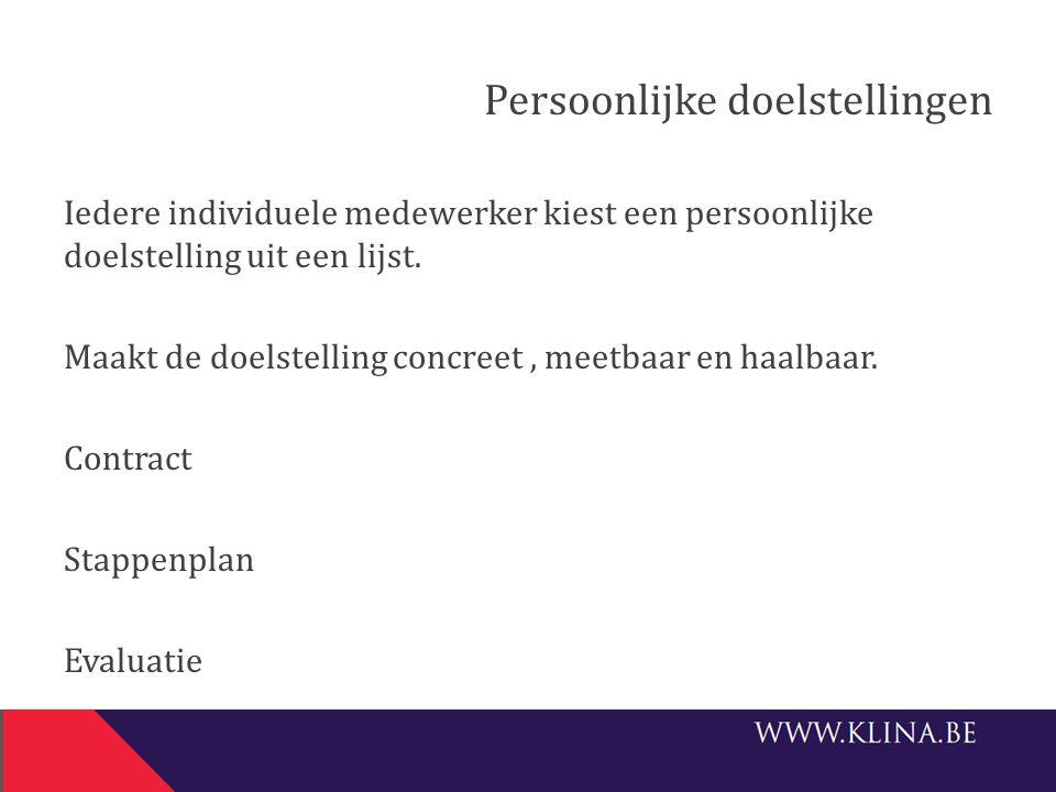 Persoonlijke doelstellingen Iedere individuele medewerker kiest een persoonlijke doelstelling uit een lijst. Maakt de doelstelling concreet, meetbaar