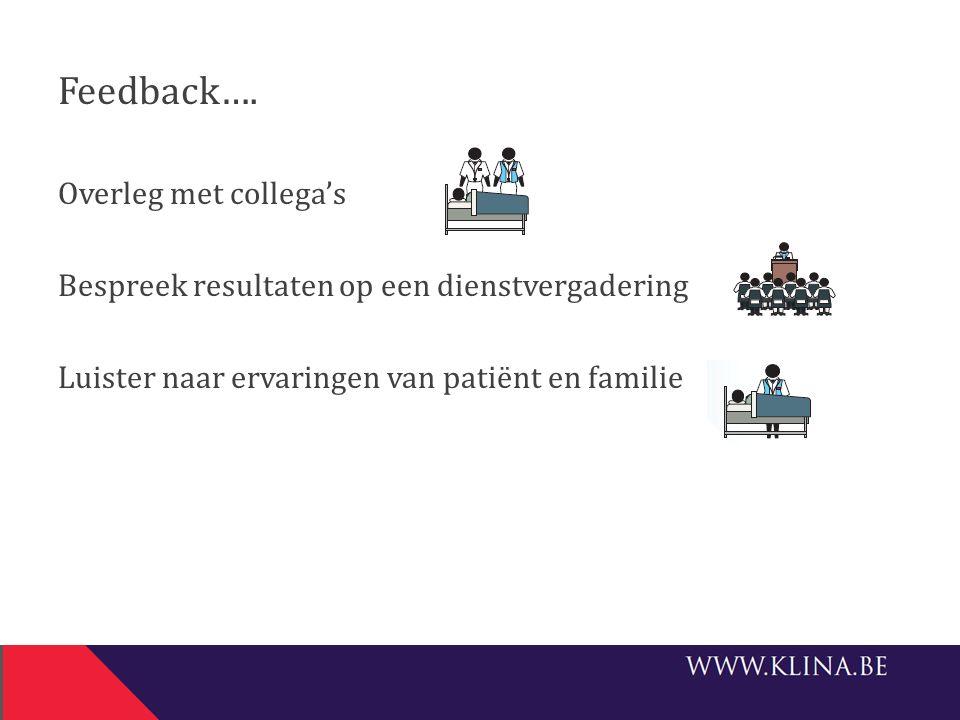 Feedback…. Overleg met collega's Bespreek resultaten op een dienstvergadering Luister naar ervaringen van patiënt en familie