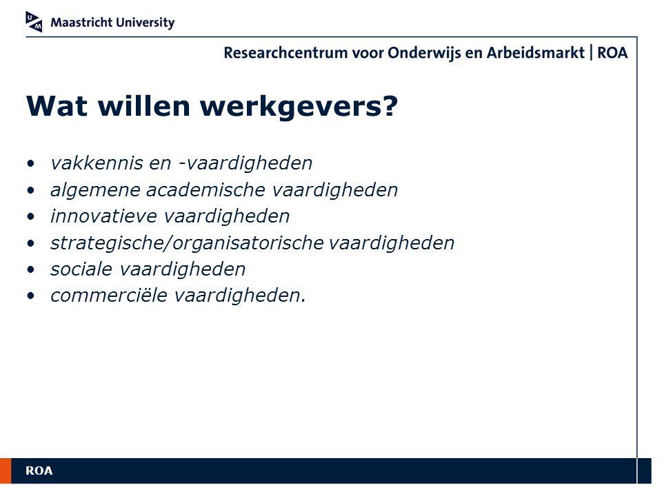 ROA Wat willen werkgevers? vakkennis en -vaardigheden algemene academische vaardigheden innovatieve vaardigheden strategische/organisatorische vaardig