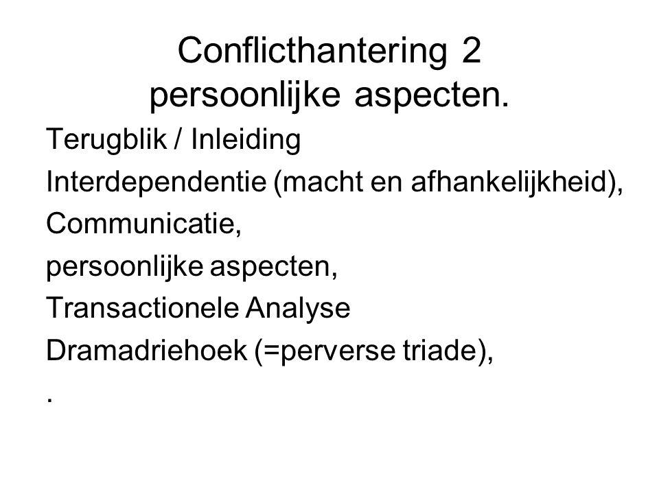 Conflicthantering 2 persoonlijke aspecten. Terugblik / Inleiding Interdependentie (macht en afhankelijkheid), Communicatie, persoonlijke aspecten, Tra