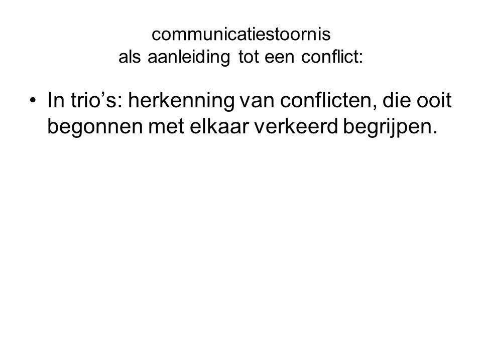 communicatiestoornis als aanleiding tot een conflict: In trio's: herkenning van conflicten, die ooit begonnen met elkaar verkeerd begrijpen.