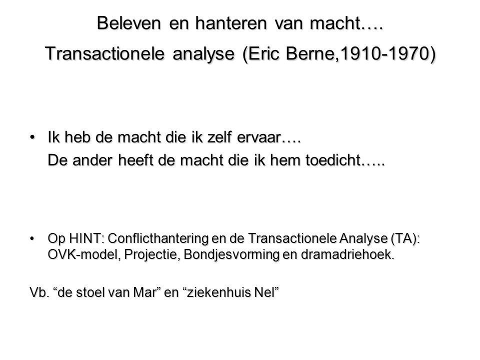 Beleven en hanteren van macht…. Transactionele analyse (Eric Berne,1910-1970) Ik heb de macht die ik zelf ervaar….Ik heb de macht die ik zelf ervaar….