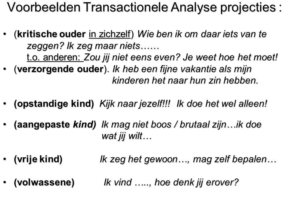 Voorbeelden Transactionele Analyse projecties : (kritische ouder in zichzelf) Wie ben ik om daar iets van te(kritische ouder in zichzelf) Wie ben ik o