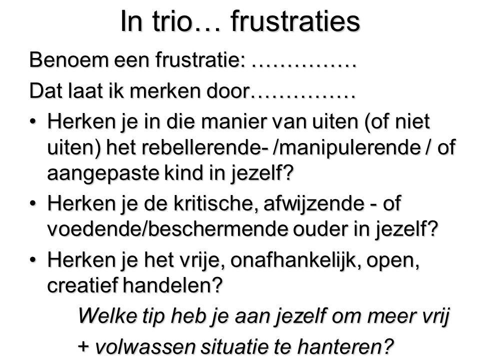 In trio… frustraties Benoem een frustratie: …………… Dat laat ik merken door…………… Herken je in die manier van uiten (of niet uiten) het rebellerende- /ma