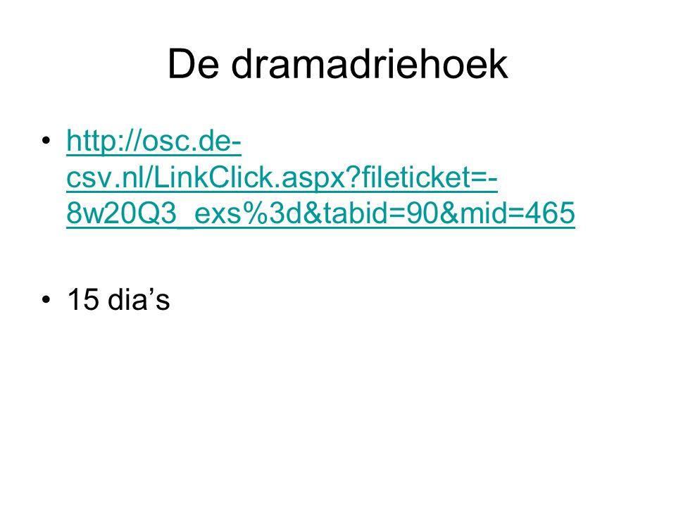 De dramadriehoek http://osc.de- csv.nl/LinkClick.aspx?fileticket=- 8w20Q3_exs%3d&tabid=90&mid=465http://osc.de- csv.nl/LinkClick.aspx?fileticket=- 8w2