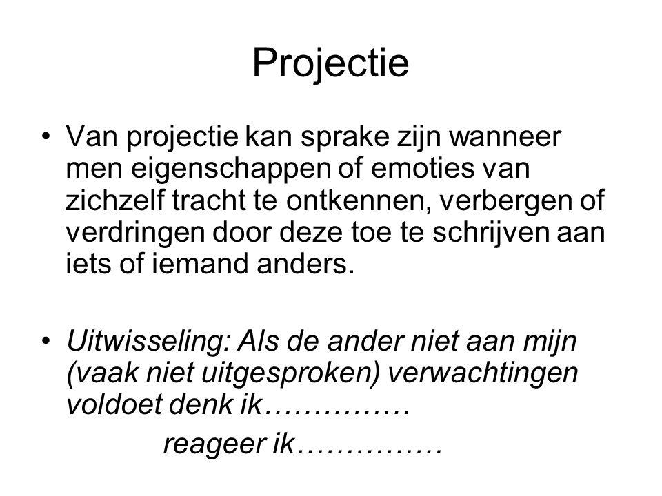 Projectie Van projectie kan sprake zijn wanneer men eigenschappen of emoties van zichzelf tracht te ontkennen, verbergen of verdringen door deze toe t