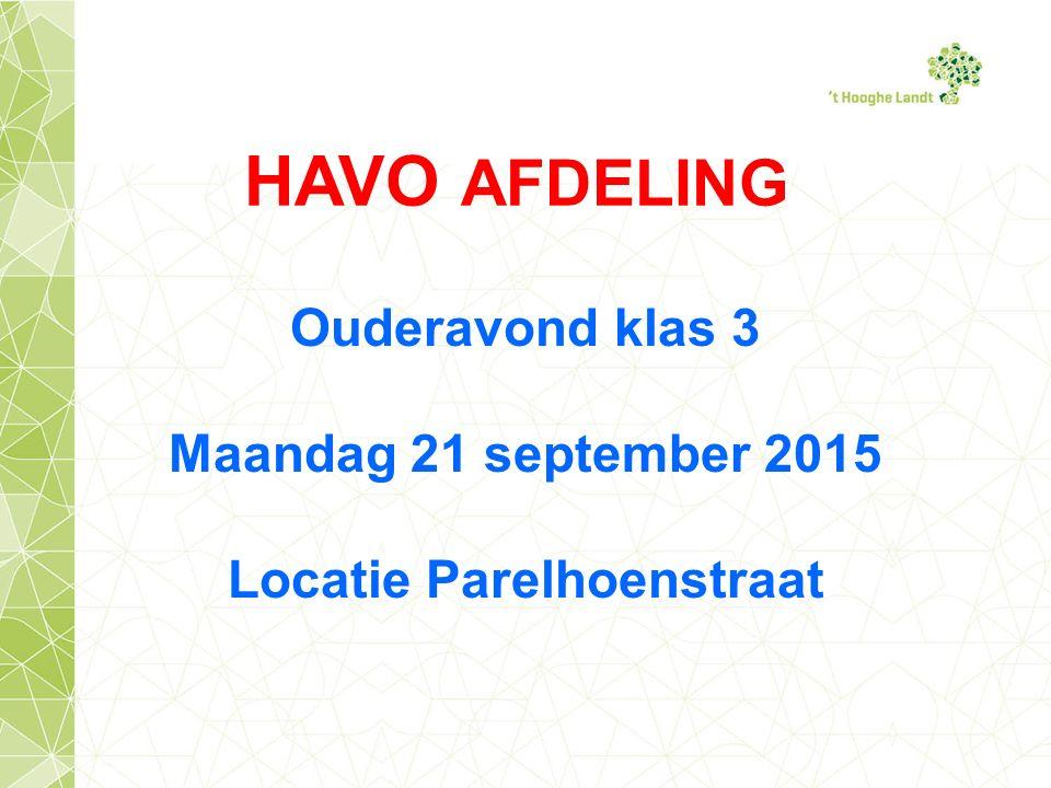 HAVO AFDELING Ouderavond klas 3 Maandag 21 september 2015 Locatie Parelhoenstraat