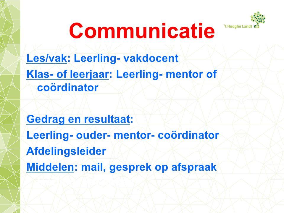 Communicatie Les/vak: Leerling- vakdocent Klas- of leerjaar: Leerling- mentor of coördinator Gedrag en resultaat: Leerling- ouder- mentor- coördinator Afdelingsleider Middelen: mail, gesprek op afspraak leerling- vakdocent