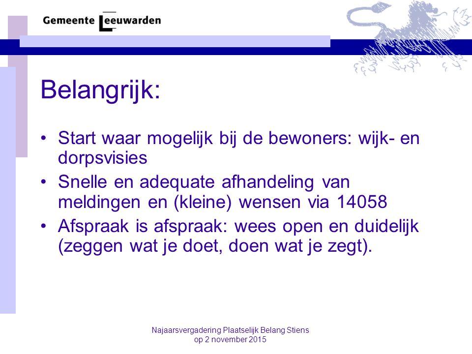 Najaarsvergadering Plaatselijk Belang Stiens op 2 november 2015 Belangrijk: Start waar mogelijk bij de bewoners: wijk- en dorpsvisies Snelle en adequa