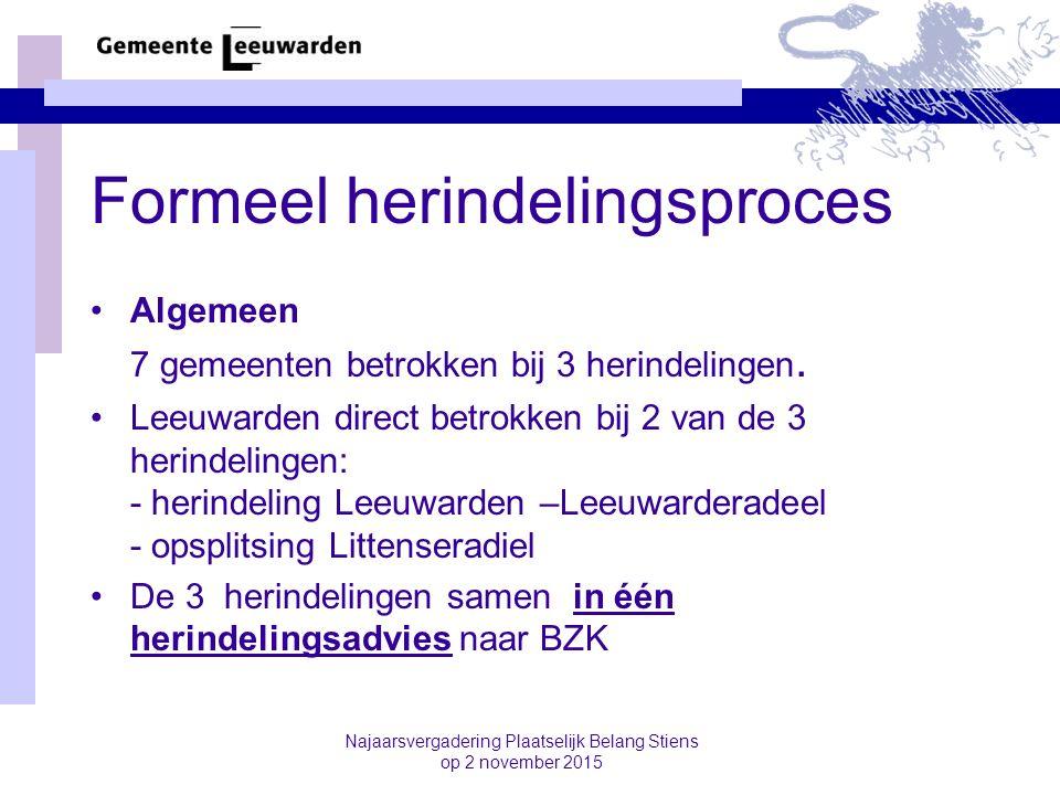 Formeel herindelingsproces Algemeen 7 gemeenten betrokken bij 3 herindelingen. Leeuwarden direct betrokken bij 2 van de 3 herindelingen: - herindeling