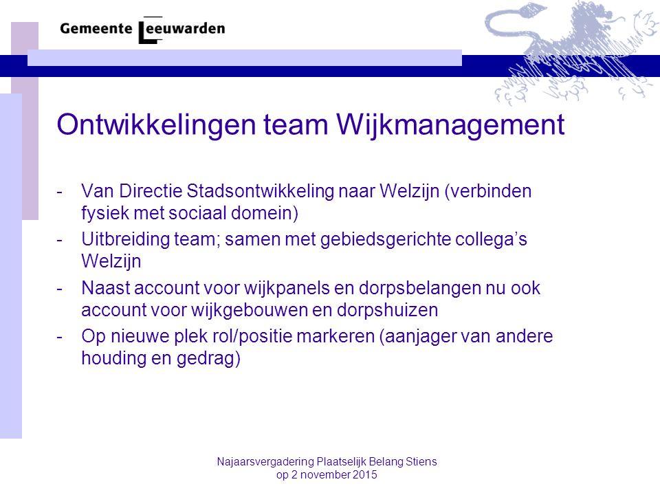 Najaarsvergadering Plaatselijk Belang Stiens op 2 november 2015 Ontwikkelingen team Wijkmanagement -Van Directie Stadsontwikkeling naar Welzijn (verbi