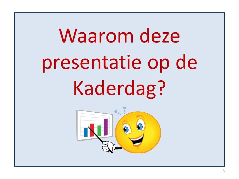 Waarom deze presentatie op de Kaderdag? 3