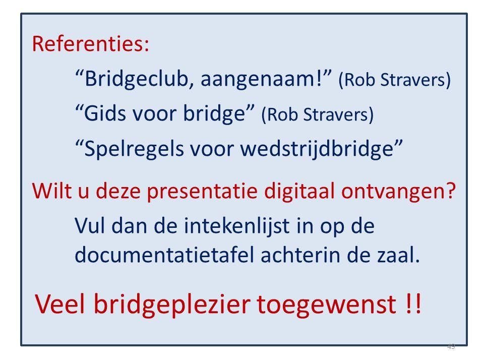Referenties: Bridgeclub, aangenaam! (Rob Stravers) Gids voor bridge (Rob Stravers) Spelregels voor wedstrijdbridge Wilt u deze presentatie digitaal ontvangen.