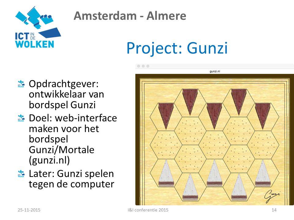 Amsterdam - Almere Project: Gunzi Opdrachtgever: ontwikkelaar van bordspel Gunzi Doel: web-interface maken voor het bordspel Gunzi/Mortale (gunzi.nl) Later: Gunzi spelen tegen de computer 25-11-201514I&I conferentie 2015