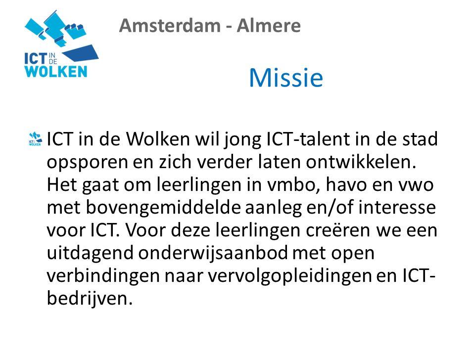 Amsterdam - Almere Missie ICT in de Wolken wil jong ICT-talent in de stad opsporen en zich verder laten ontwikkelen.
