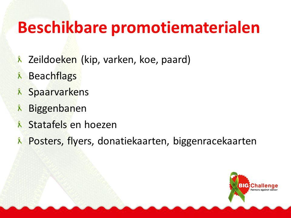 Beschikbare promotiematerialen Zeildoeken (kip, varken, koe, paard) Beachflags Spaarvarkens Biggenbanen Statafels en hoezen Posters, flyers, donatiekaarten, biggenracekaarten