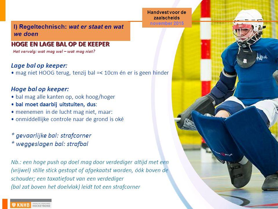 Zaalhockey Startvergadering en PM District Noord-Holland HOGE EN LAGE BAL OP DE KEEPER Het vervolg: wat mag wel – wat mag niet? Lage bal op keeper: ma