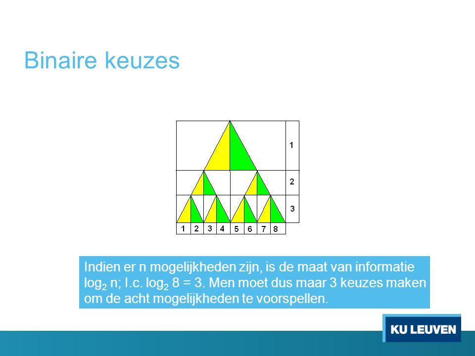 Binaire keuzes Indien er n mogelijkheden zijn, is de maat van informatie log 2 n; I.c. log 2 8 = 3. Men moet dus maar 3 keuzes maken om de acht mogeli