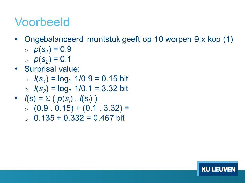 Voorbeeld Ongebalanceerd muntstuk geeft op 10 worpen 9 x kop (1) o p(s 1 ) = 0.9 o p(s 2 ) = 0.1 Surprisal value: o I(s 1 ) = log 2 1/0.9 = 0.15 bit o