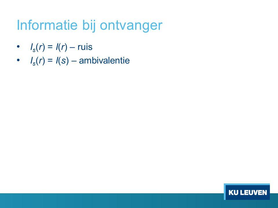 Informatie bij ontvanger I s (r) = I(r) – ruis I s (r) = I(s) – ambivalentie