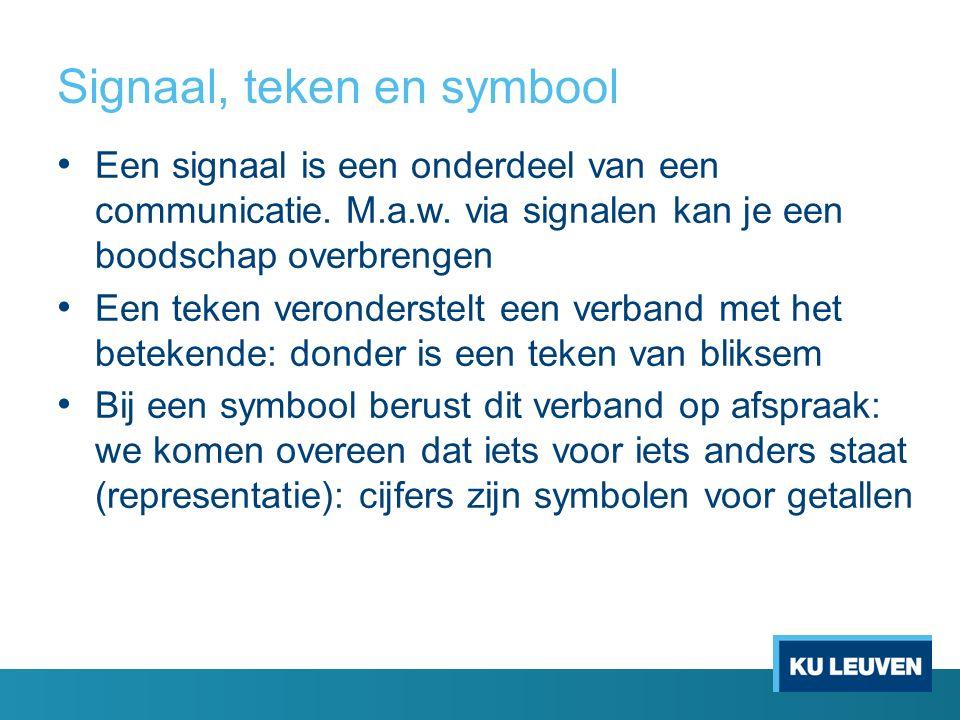 Signaal, teken en symbool Een signaal is een onderdeel van een communicatie. M.a.w. via signalen kan je een boodschap overbrengen Een teken veronderst