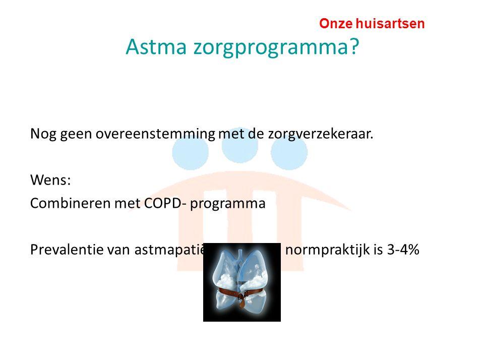 Onze huisartsen Astma zorgprogramma. Nog geen overeenstemming met de zorgverzekeraar.