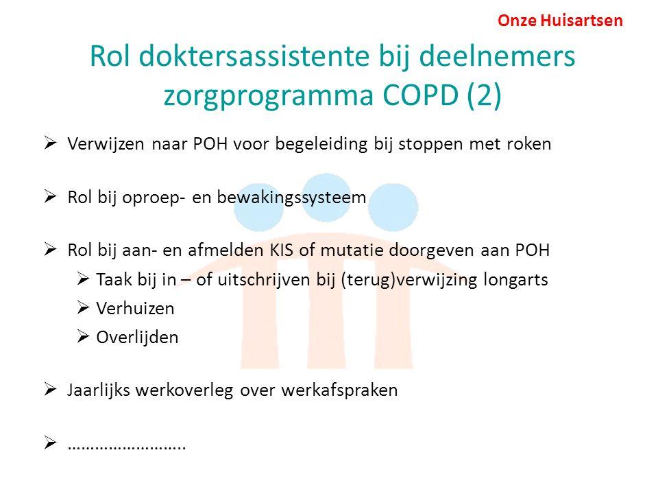 Onze Huisartsen Rol doktersassistente bij deelnemers zorgprogramma COPD (2)  Verwijzen naar POH voor begeleiding bij stoppen met roken  Rol bij oproep- en bewakingssysteem  Rol bij aan- en afmelden KIS of mutatie doorgeven aan POH  Taak bij in – of uitschrijven bij (terug)verwijzing longarts  Verhuizen  Overlijden  Jaarlijks werkoverleg over werkafspraken  ……………………..
