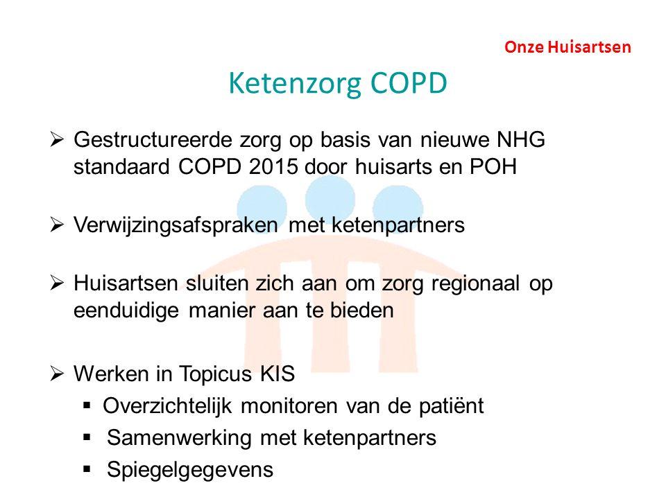 Onze Huisartsen Ketenzorg COPD  Gestructureerde zorg op basis van nieuwe NHG standaard COPD 2015 door huisarts en POH  Verwijzingsafspraken met ketenpartners  Huisartsen sluiten zich aan om zorg regionaal op eenduidige manier aan te bieden  Werken in Topicus KIS  Overzichtelijk monitoren van de patiënt  Samenwerking met ketenpartners  Spiegelgegevens