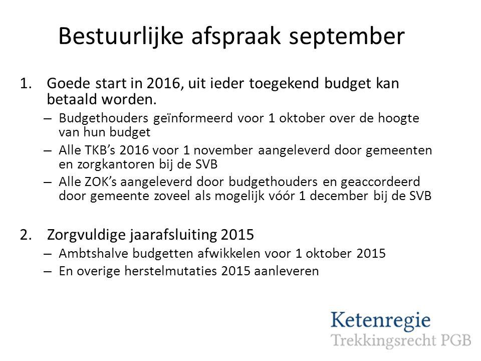 Bestuurlijke afspraak september 1.Goede start in 2016, uit ieder toegekend budget kan betaald worden.