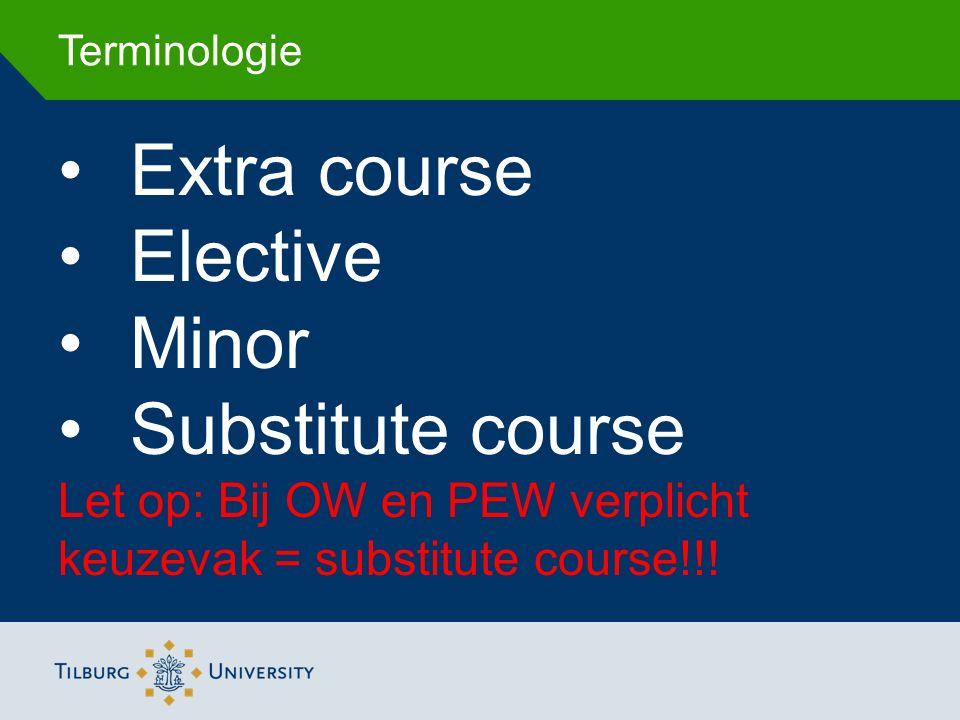 Terminologie Extra course Elective Minor Substitute course Let op: Bij OW en PEW verplicht keuzevak = substitute course!!!